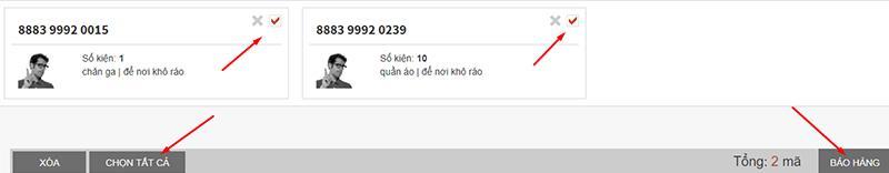 click thông báo hàng sau khi hoàn thành nhập liệu mã bưu vận trên hệ thống của ichina company